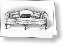 Satin Chippendale English Sofa Greeting Card