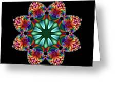 Satin Rainbow Fractal Flower II Greeting Card