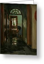 Saturday  An Interior View Of Garstin's Home  Greeting Card