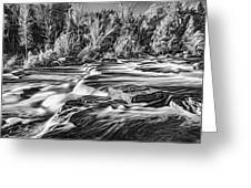Sauble Falls Autumn Evening 3 - Paint Bw Greeting Card