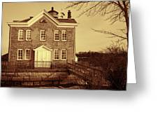 Saugerties Lighthouse Sepia Greeting Card by Nancy De Flon