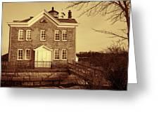 Saugerties Lighthouse Sepia Greeting Card