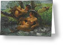 Savage Oil Painting Naked Female Greeting Card