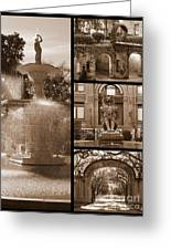 Savannah Landmarks In Sepia Greeting Card