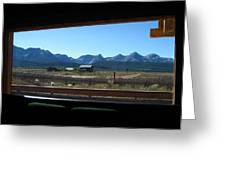 Sawtooth Mountains From Cafe Window Greeting Card