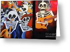 Sax Guitar Music Day Of The Dead  Greeting Card