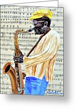 Sax Man With A Yellow Hat Greeting Card