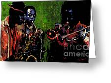 Saxophon Players. Greeting Card