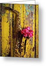 Saxophone And Roses On Wall Greeting Card