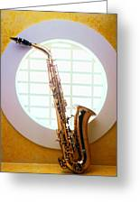 Saxophone In Round Window Greeting Card