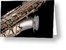 Saxophone Isolated Black Greeting Card by M K  Miller