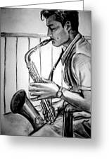 Saxophone Player Greeting Card by Laura Rispoli