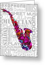 Saxophone With Word Background Greeting Card
