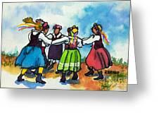 Scandinavian Dancers Greeting Card by Kathy Braud