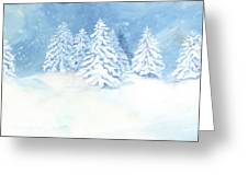 Scandinavian Winter Snowy Trees Hygge Greeting Card