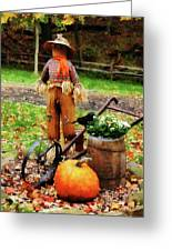 Scarecrow And Pumpkin Greeting Card