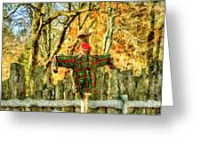 scarecrow in field at Stanhope Waterloo Village Greeting Card