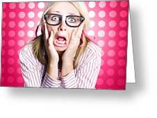 Scared Goofy Business Person Expressing Fear Greeting Card