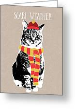 Scarf Weather Cat- Art By Linda Woods Greeting Card