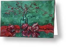 Scarlet Pomegranates Greeting Card