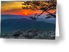 Scarlet Sky At Ravens Roost Panorama I Greeting Card