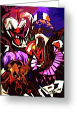 Scary Clowns Abstract Greeting Card
