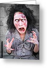 Scary Screaming Zombie Woman Greeting Card