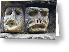 Scary Stone Heads Greeting Card