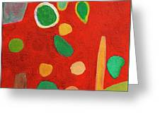 Scattered Things Over Red  Greeting Card