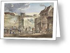 Scene In A Courtyard Greeting Card