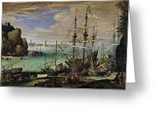 Scene Of A Sea Port Greeting Card