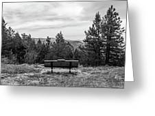 Scenic Bench In Black And White Greeting Card