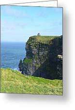 Scenic Lush Green Grass And Sea Cliffs Of Ireland Greeting Card