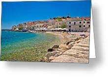 Scenic Mediterranean Beach In Primosten Greeting Card