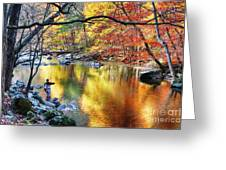 Scenic New Jersey Fall Fly Fishing  Greeting Card