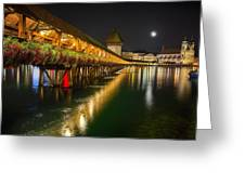 Scenic Night View Of The Chapel Bridge In Old Town Lucerne Greeting Card by George Oze