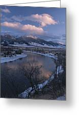 Scenic Twilight View Of The Yellowstone Greeting Card