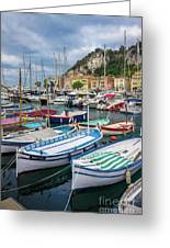Scenic View Of Castle Hill And Marina In Nice, France Greeting Card