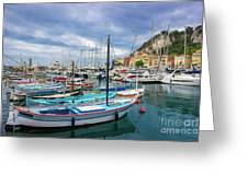 Scenic View Of Historical Marina In Nice, France Greeting Card