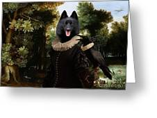 Schipperke Art Canvas Print - Forest Landscape With A Hunter And Noble Lady Greeting Card