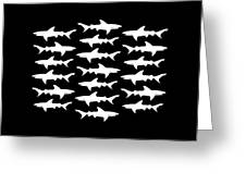 School Of Sharks Black And White Greeting Card