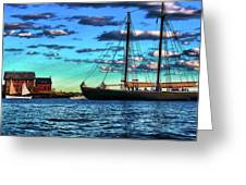 Schooner Adventure At The Paint Factory Greeting Card