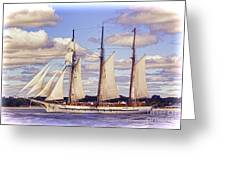 Schooner Mystic Under Sail Greeting Card