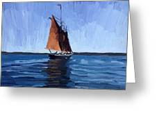Schooner Roseway In Gloucester Harbor Greeting Card