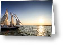 Schooner Welcome Sunset Charleston Sc Greeting Card