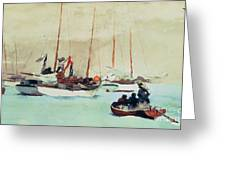 Schooners At Anchor In Key West Greeting Card