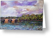 Schuylkill River Rowers Greeting Card by Joyce A Guariglia