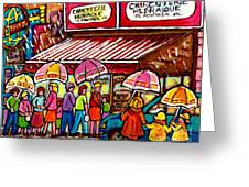 Schwartz's Deli Rainy Day Line-up Umbrella Paintings Montreal Memories April Showers Carole Spandau  Greeting Card
