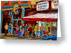 Schwartzs Lineup On St. Lawrence Montreal Streetscenes Greeting Card