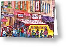 Schwartz's Smoked Meat Deli On The Main Montreal Hockey Art Scenes School Bus Painting C Spandau Art Greeting Card